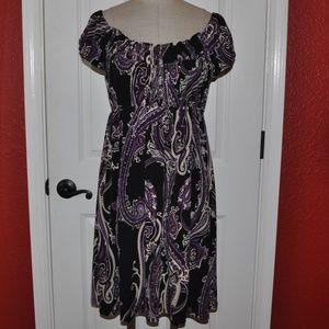 MSK Paisley Print Off-The-Shoulder Jersey Dress C7